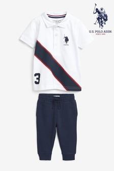 Biały komplet U.S. Polo Assn. z logo i ozdobnym paskiem: koszulka i joggery