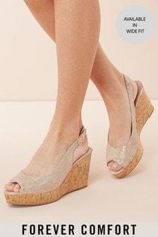 Sandale mit Knöchelriemen und Keilabsatz in Kork-Optik