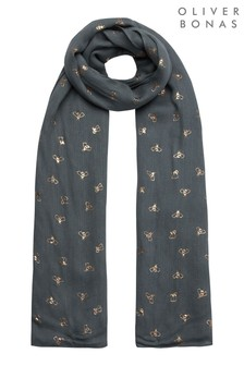 Oliver Bonas Green Bee Foiled Lightweight Scarf