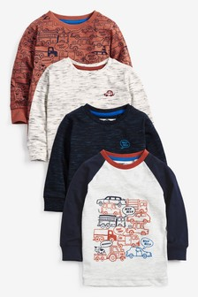 4 Pack Long Sleeve Cars T-Shirts (3mths-7yrs)