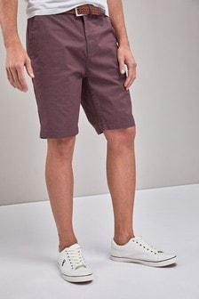 Chino-Shorts mit Gürtel und Blümchenmuster