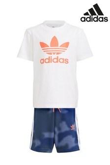 adidas Originals set van T-shirt met camouflageprint plus short voor kleine kinderen