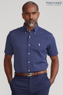 Polo Golf by Ralph Lauren Navy Dot Short Sleeve Twill Shirt