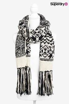 Superdry 黑色/白色圍巾