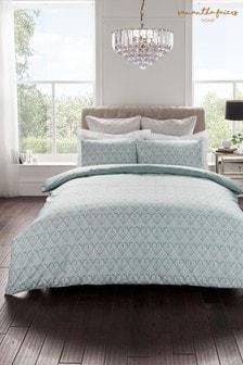 Bawełnianaposzwana kołdręi poduszki Sam Faiers Clara, z geometrycznymwzorem