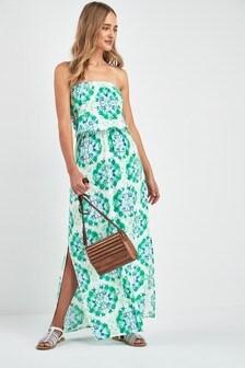 Пляжное платье макси в стиле бандо