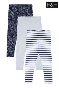 F&F Navy/Stripe/Grey Leggings Three Pack