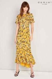 שמלת מקסי Leigh מודפסת בצהובשל Damsel In A Dress