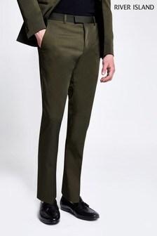 River Island Khaki High Shine Suit Trouser