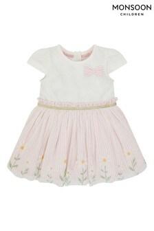 Monsoon粉色新生嬰兒雛菊Disco連身裙