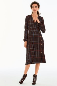 Button Wrap Midi Dress