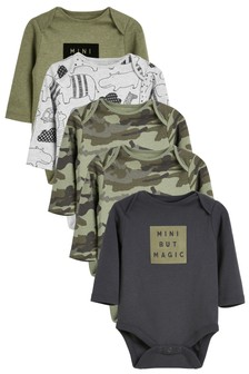 5 Pack Slogan Long Sleeve Bodysuits (0mths-2yrs)