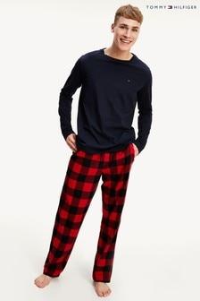 Tommy Hilfiger Blue Tartan Flannel Pyjama Set