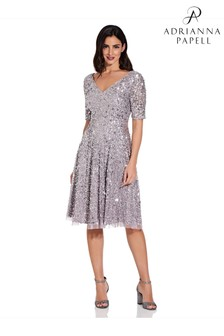 Adrianna Papell Midi Beaded Dress