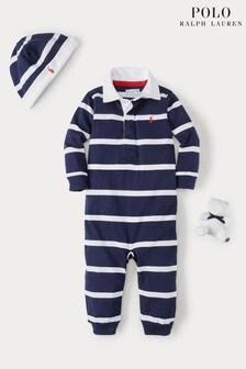 Ensemble cadeau Ralph Lauren bleu marine rayé avec barboteuse, bonnet et jouet