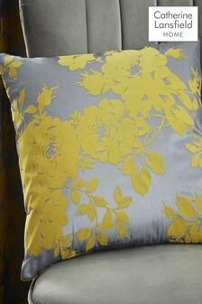 Catherine Lansfield Ochre Velvet Rose Cushion
