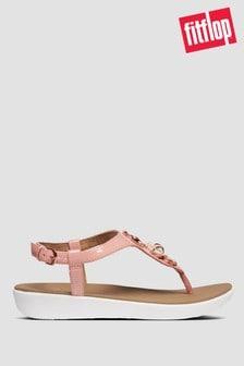 Розовые лакированные сандалии с отделкой и ремешком через пятку FitFlop™ Lainey