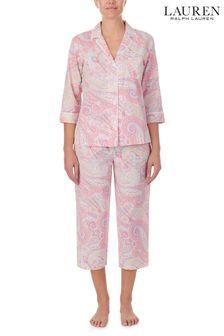 סט חולצה ומכנסיים ארוכים שלLauren Ralph Lauren בוורוד עם שרוול3/4 ומפתח וי