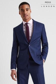 Moss London Skinny Fit Blue Stretch Jacket