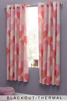 Stitch Heart Printed Eyelet Blackout Curtains