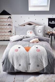 Siva appliqué flis Penguin duvet pokrov in blazina set