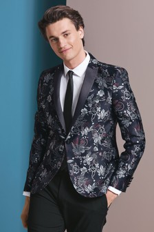 Skinny Fit Patterned Tuxedo Suit: Jacket