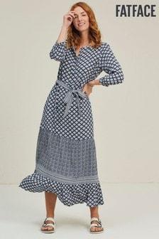 FatFace Ava Kleid mit Vintage-Geomuster, Indigoblau