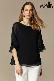 חולצת סכבות עם מלמלה וצווארון וי של Wallis בצבע שחור
