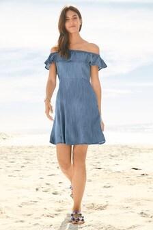 Sukienka Tencel® z falbanami i odkrytymi ramionami