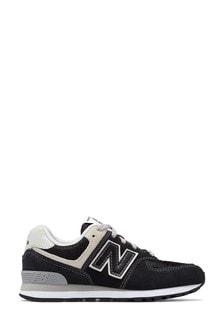 New Balance Youth 574 Black/Grey Trainers