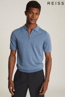 Reiss Blue Maxwell Merino Wool Zip Neck Polo