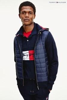 Tommy Hilfiger Blue Mixed Media Full Zip Jacket