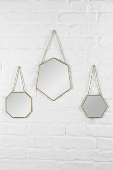 Set of 3 Gold Angular Mirrors