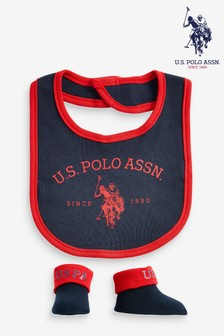 U.S. Polo Assn. Bib & Bootie Set