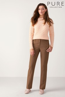 Pure Collection Camel Slim Leg Wool Blend Trouser