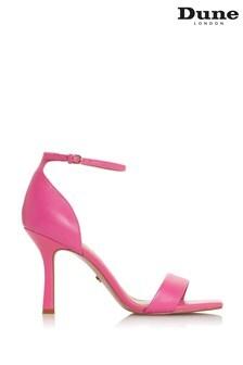 Dune London Meri Plain Pink Leather Square Toe High Heel Sandals