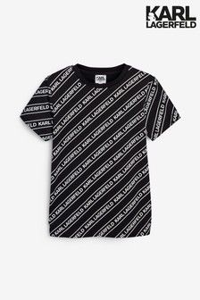 تي شيرت أسود وأبيض بشعار منKarl Lagerfeld