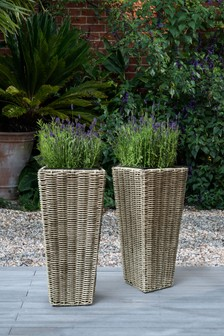Set Of 2 Plastic Wicker Planters (632035) | $108