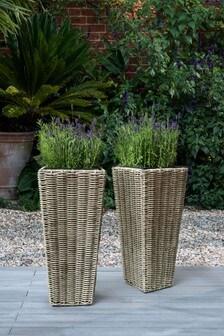 Set of 2 Plastic Wicker Planters