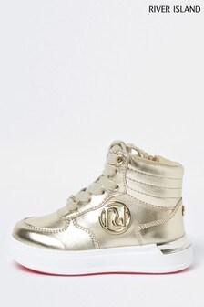 River Island Gold Metallic Velcro High Top Shoes