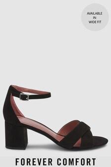 Forever Comfort® Sandale mit Blockabsatz und überkreuzten Riemen