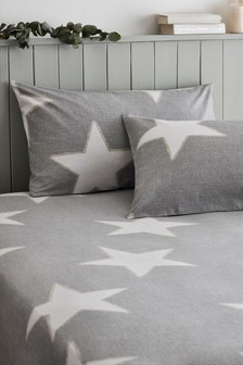 Brushed Cotton Stars Fitted Sheet