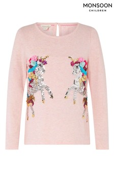 Monsoon Pink Sequin Unicorn Top In Organic Cotton