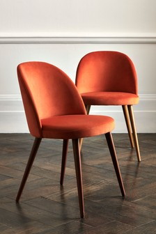 Set of 2 Zola Dining Chairs With Walnut Effect Legs