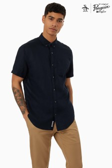 Original Penguin® Linen Short Sleeved Shirt With Chest Placement Pete The Penguin