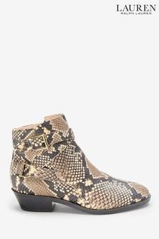 Skórzane botki Ralph Lauren z efektem skóry węża