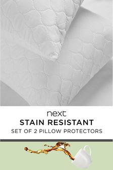 Set of 2 Stain Resistant Pillow Protectors