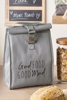 Grey Slogan Lunch Bag