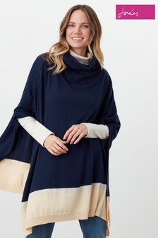 Joules Blue Kari Knitted Poncho
