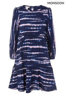 Monsoon Gewebtes Swing-Kleid mit Knüpfbatik, Blau